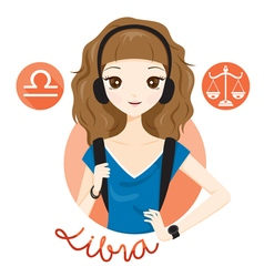 Woman With Libra Zodiac Sign vector image