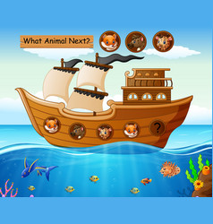 wood boat sailing with animals theme vector image