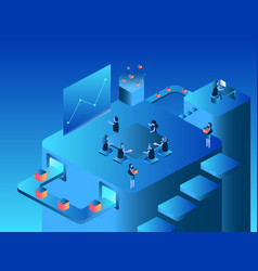 work team isometric flat design vector image