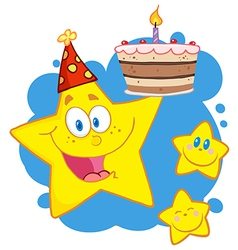 Yellow Stars With A Birthday Cake Over Blue vector image
