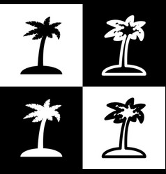 coconut palm tree sign black and white vector image