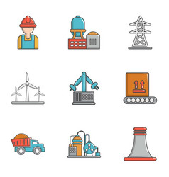 energy industry icons set cartoon style vector image