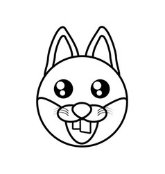 Fox face animal outline vector