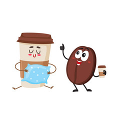 funny coffee bean and sleepy paper cup characters vector image