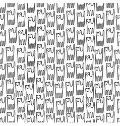 Funny kitten hand drawn seamless pattern black vector