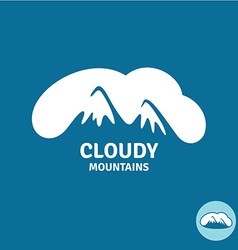 High mountain peaks in a cloud sky logo template vector image