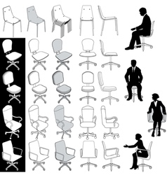 Office business chairs vector image vector image