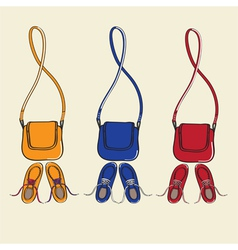 Trendy shoes and matching handbags vector image vector image