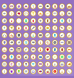 100 music studio icons set in cartoon style vector image