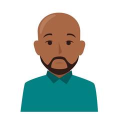 colorful silhouette half body brunette bald man vector image vector image