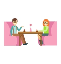 Couple in glasses on a date eating a cake smiling vector