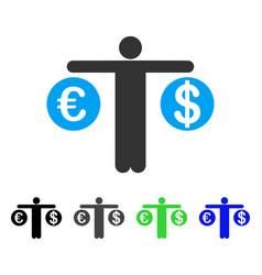 Person compare dollar and euro flat icon vector