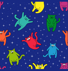 seamless pattern with amusing cats on starry sky vector image vector image