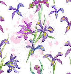 seamless texture watercolor flowers iris vector image