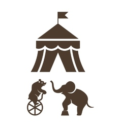 Set of silhouette circus icons vector image vector image