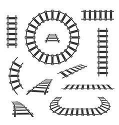 straight and curved railroad tracks black vector image vector image