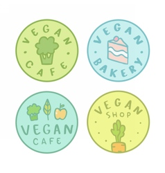 Collection of vegan bakery cafe shop badges vector image vector image
