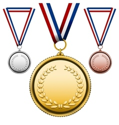 Medals with blank face vector image vector image
