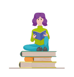girl with the textbook sitting on a pile of books vector image vector image