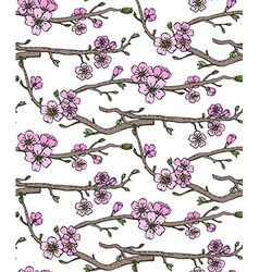 Seamless pattern with hand drawn branches of a vector image