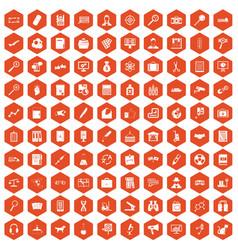 100 magnifier icons hexagon orange vector