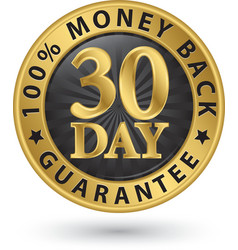 30 day 100 money back guarantee golden sign vector