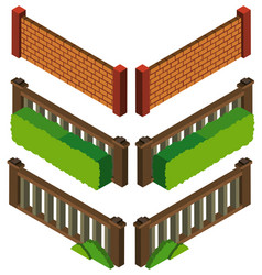3d design for different styles fo wall and fence vector