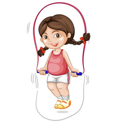 A chubby girl skipping the rope vector