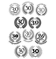 Anniversary heraldic laurel wreaths symbols vector image