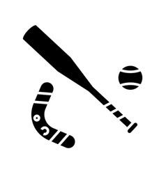 baseball bat black icon concept vector image