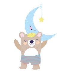 bashower cute bear half moon with star cartoon vector image