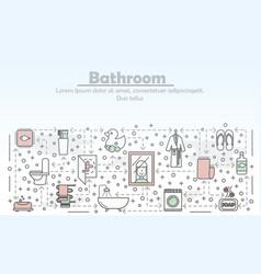 Bathroom advertising flat line art vector