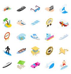 beach holidays icons set isometric style vector image