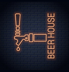 Beer tap logo neon sign beer house neon icon on vector