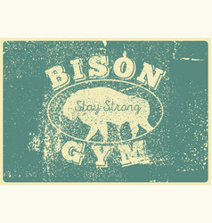 bison gym icon logo label sign badge vector image
