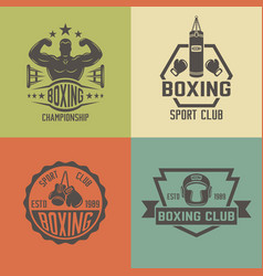 boxing martial arts colored vintage labels vector image