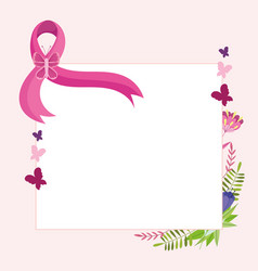 breast cancer pink ribbon with butterfly flowers vector image