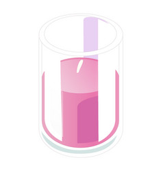 Bright pink candle in the glass isolated on white vector
