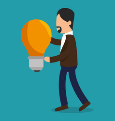 Business people with bulb light training icon vector