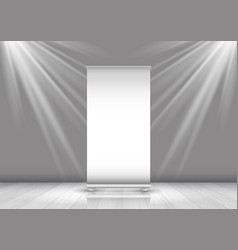 business roll up banner in room with spotlights vector image
