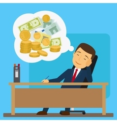 Businessman dreaming about money vector