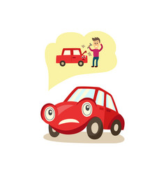 Cartoon car character worryed emotions vector