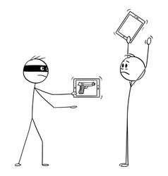 cartoon robber with virtual gun as image vector image