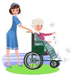 Cartoon smiling nurse helping woman in wheelchair vector