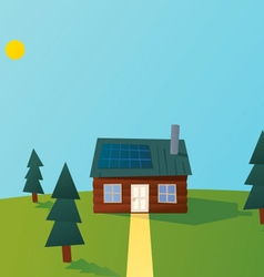Cartoon solar powered log cabin vector