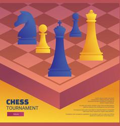 Chess tournament web banner template vector