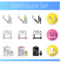 Childhood toys icons set vector