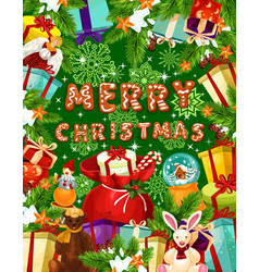 Christmas banner with frame of new year gift vector