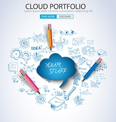 Cloud Portfolio concept with Doodle design style vector