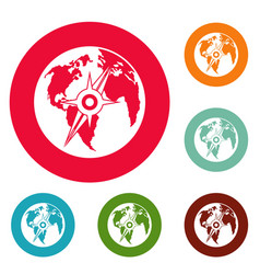 compass on earth icons circle set vector image